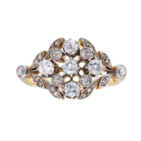*NEW* Antique Edwardian  Belle Epoque, Diamond Cluster Ring, 18ct Yellow Gold