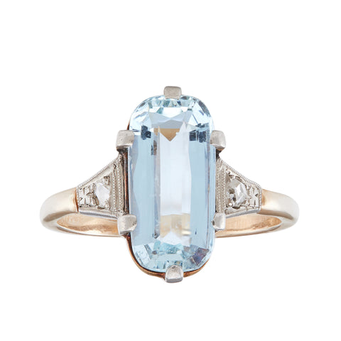 *NEW* Art Deco Aquamarine and Diamond Ring, 18ct Yellow Gold
