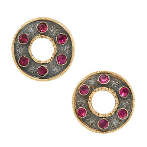 *NEW* Antique French Ruby Earrings, 18ct Yellow Gold and Silver
