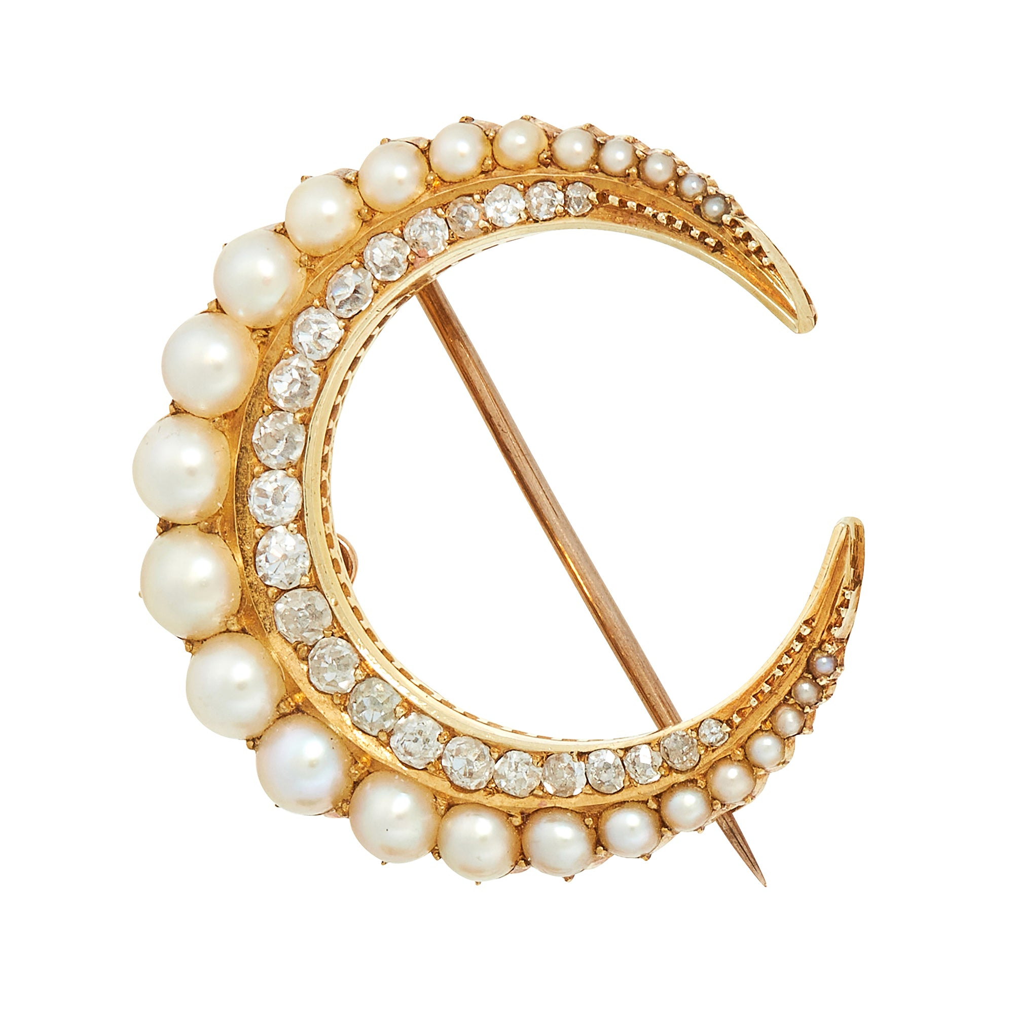 *NEW* Victorian Pearl and Diamond Crescent Moon Brooch