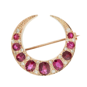 *NEW* Victorian Ruby and Diamond Crescent Moon  Brooch, 18ct Yellow gold
