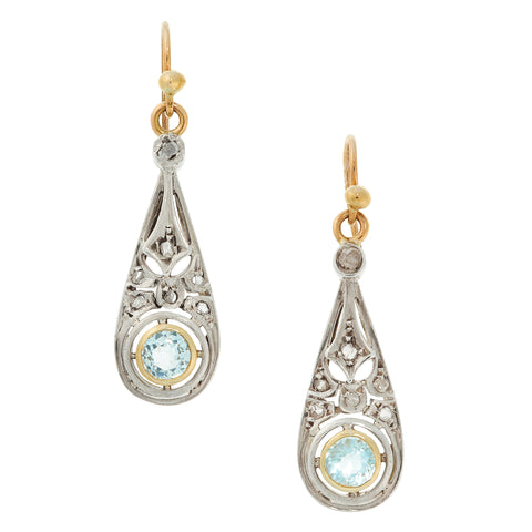 *NEW* Edwardian Aquamarine Diamond Drop Earrings