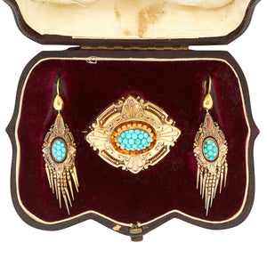 *New* Antique Victorian Turquoise Boxed Set, 9ct Yellow Gold