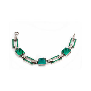 Bracelet Deco Green Glass and Enamel in Silver