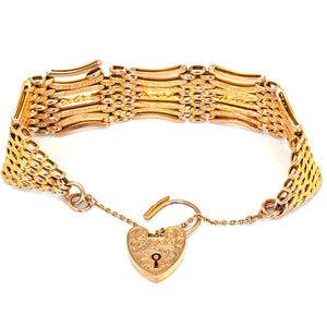 Antique Edwardian 9ct Gold Gate Bracelet Dated 1904-1905