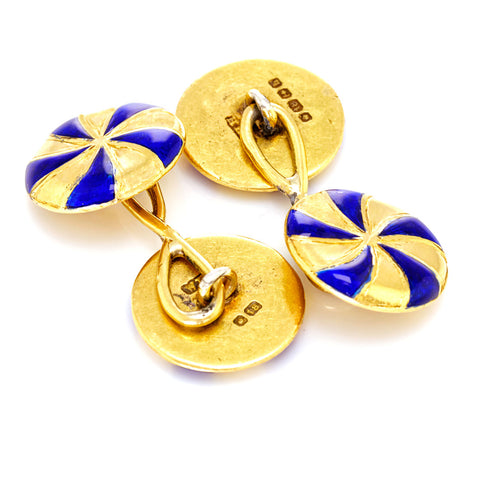 Art Deco Blue Enamel Cufflinks