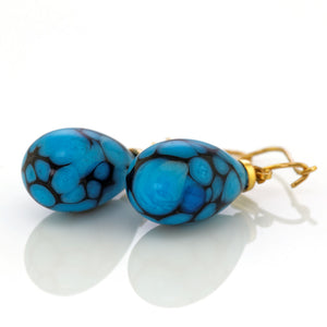 Art Deco black and blue glass earrings