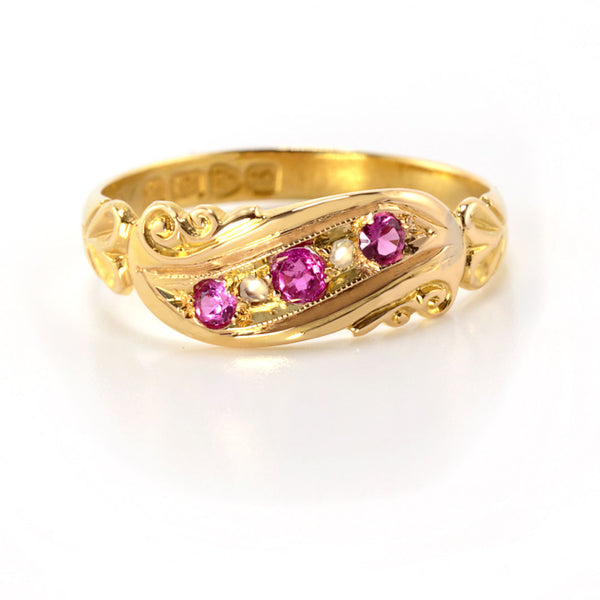 Edwardian Pink Ruby and Diamond Ring  - Gold