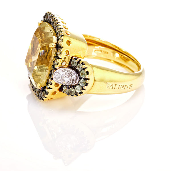 Retro Citrine and Diamond Gold Cocktail Ring