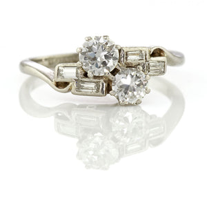 Art Deco Diamond Cross Over Ring