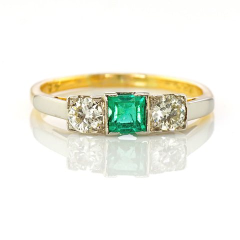 Deco Emerald and Diamond Three stone Ring Yellow Gold