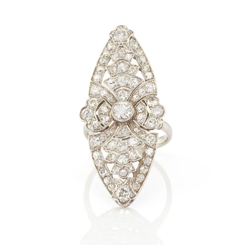 Art Deco Diamond Marquise Shaped Ring