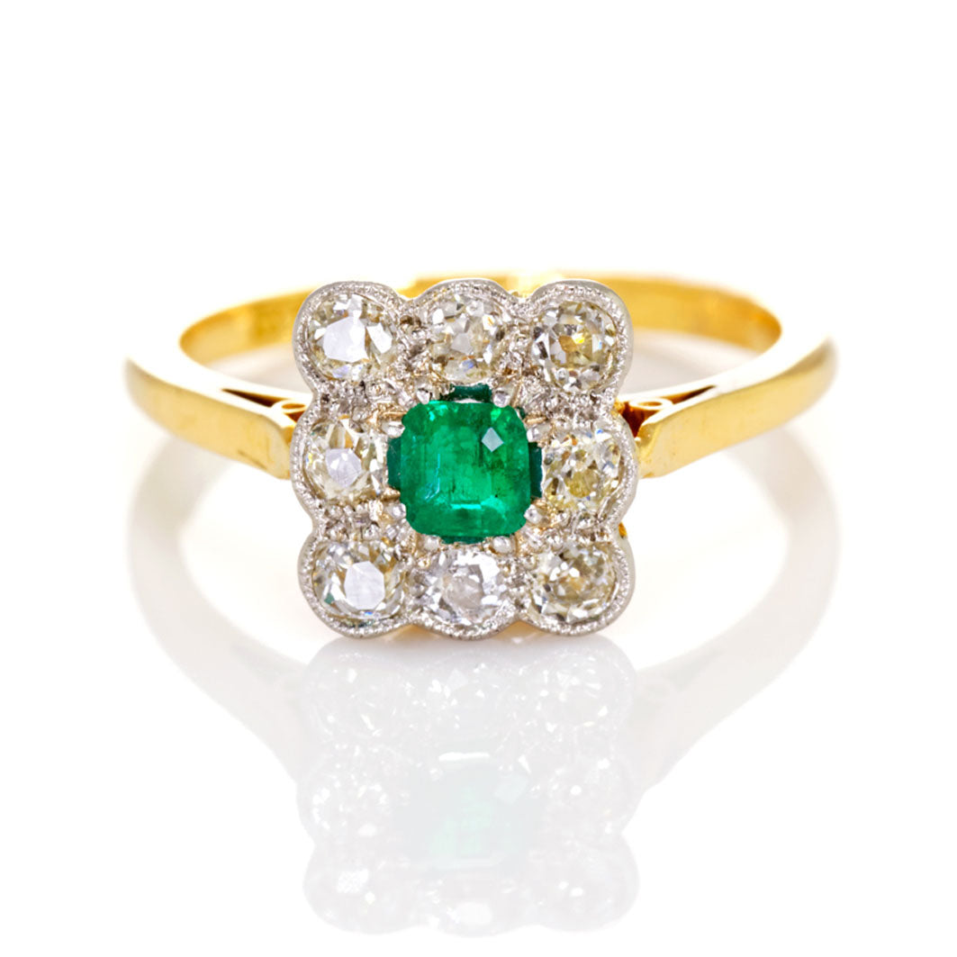 Antique Edwardian Emerald and Diamond Cluster Ring