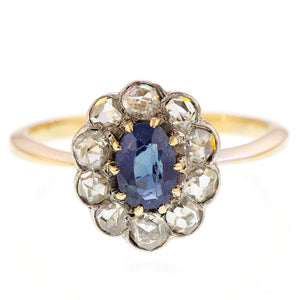 Edwardian Sapphire and Rose Cut Diamond Ring