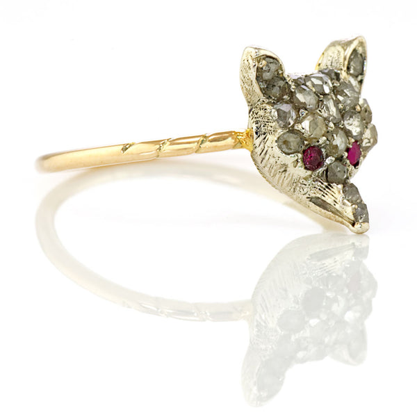 Victorian Diamond Fox Ring with Ruby Eyes