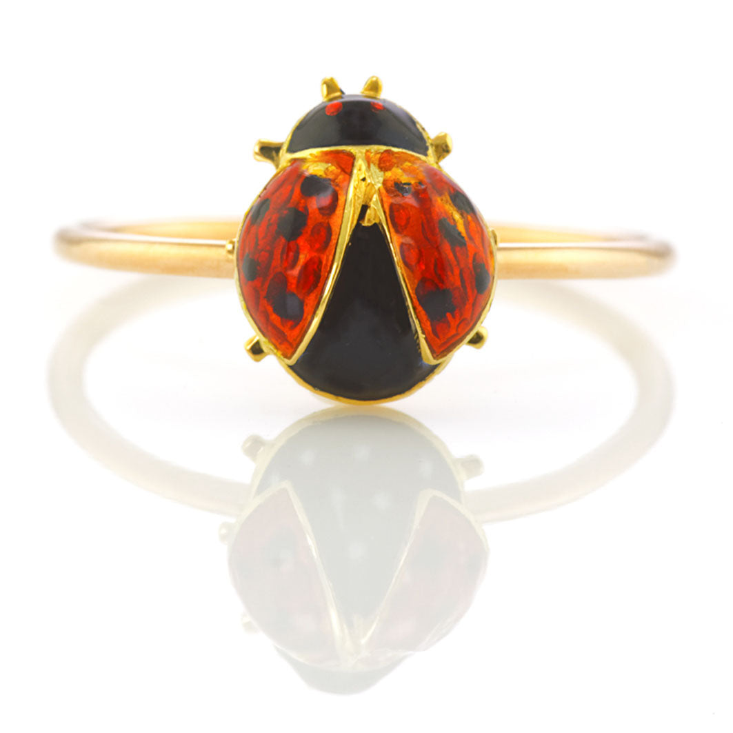 Edwardian Enamel Ladybird Ring 18carat yellow gold