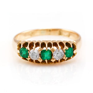 Victorian Emerald and Diamond Five Stone Ring