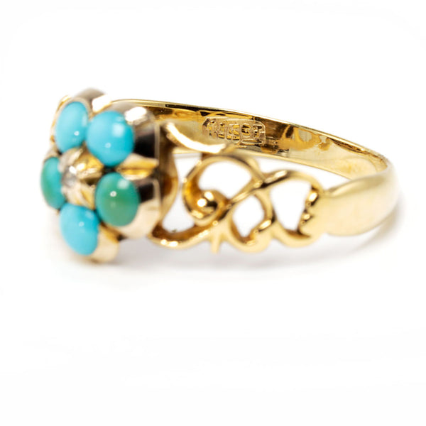 Victorian Turquoise and Diamond  Forget-Me-not Ring