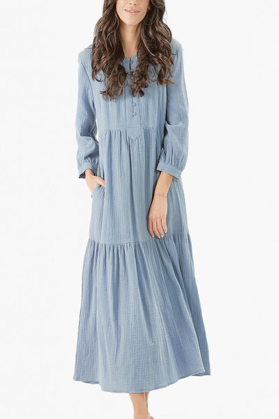 MALI DRESS- MIDI LENGTH (Dusty blue)