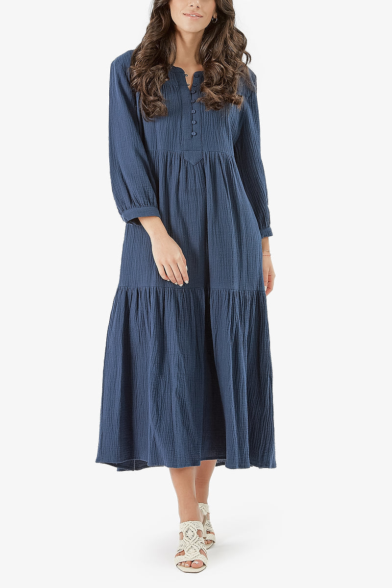 MALI DRESS- MIDI LENGTH (Blue)