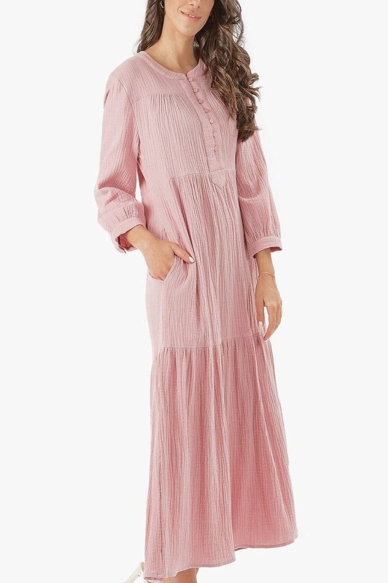 MALI DRESS- MIDI LENGTH (Dusty pink)