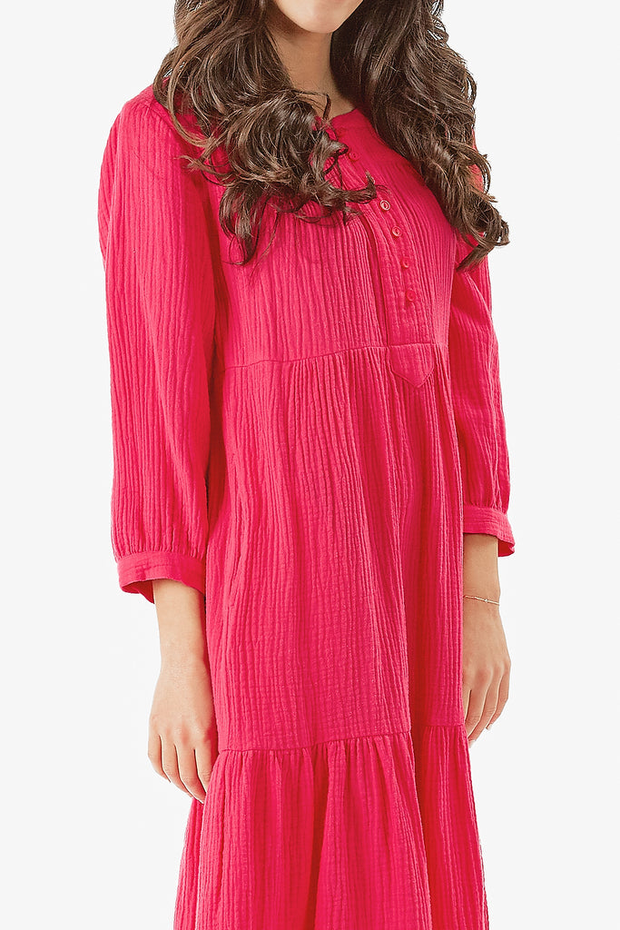 MALI DRESS- MIDI LENGTH (Hot pink)