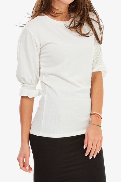GRETTA RIBBED TEE (Off White)