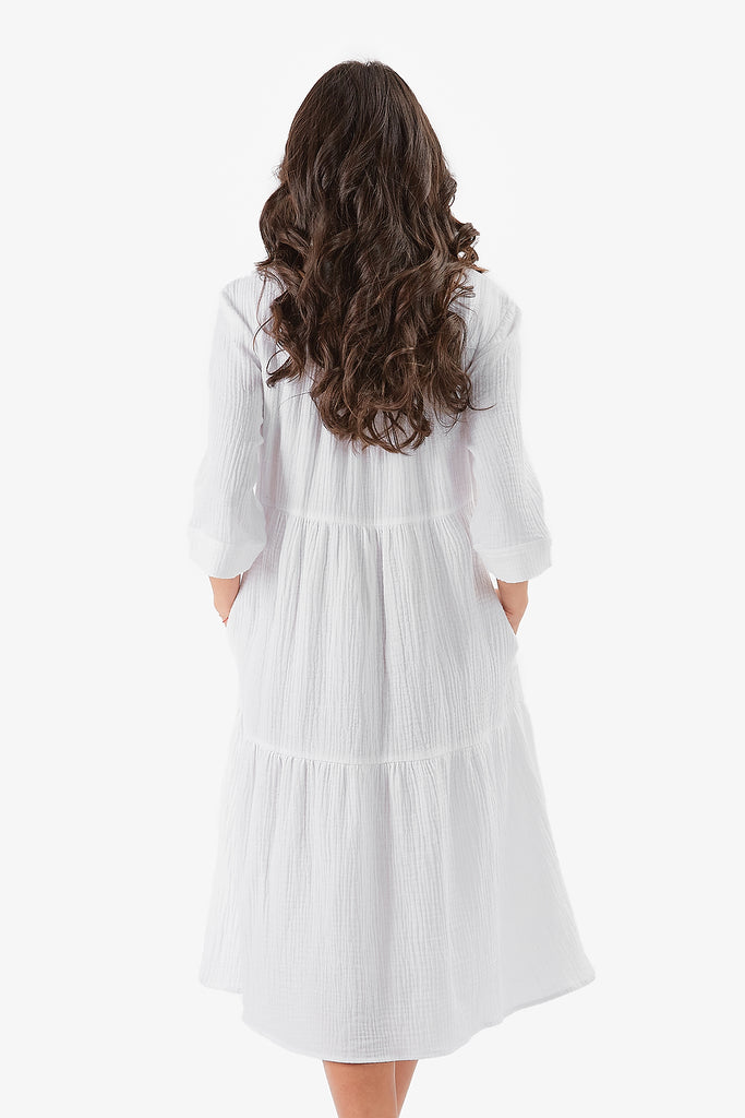 MALI DRESS- MIDI LENGTH (White)