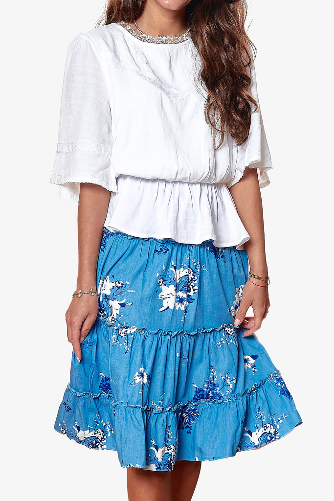 BALI SKIRT (Floral/Light Blue)