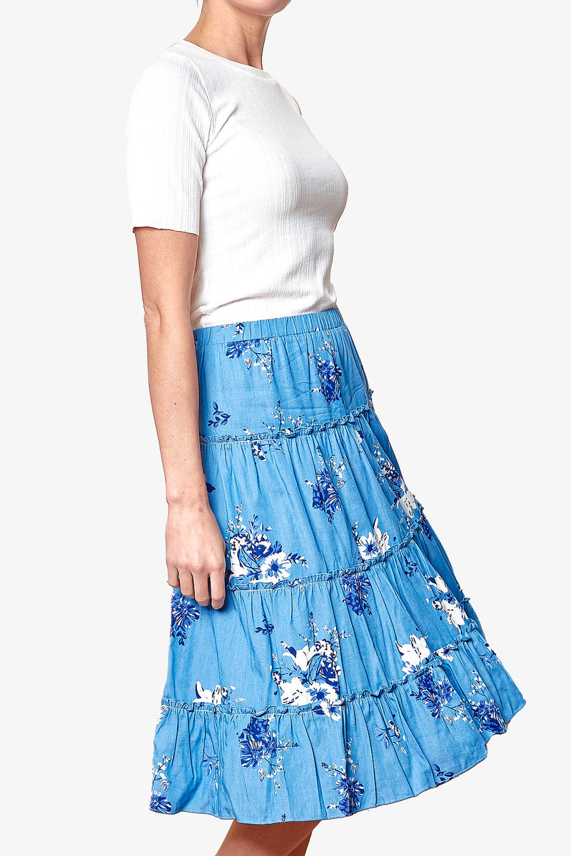 EMILY SKIRT (White/Blue Floral)