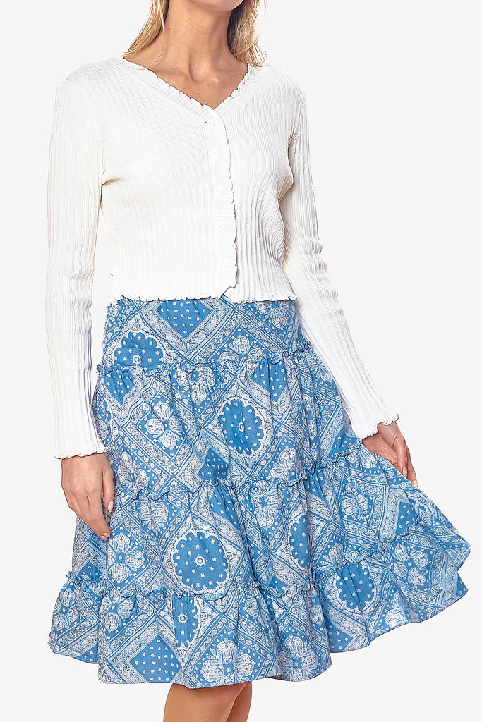 BALI SKIRT (Light Blue/Geo)