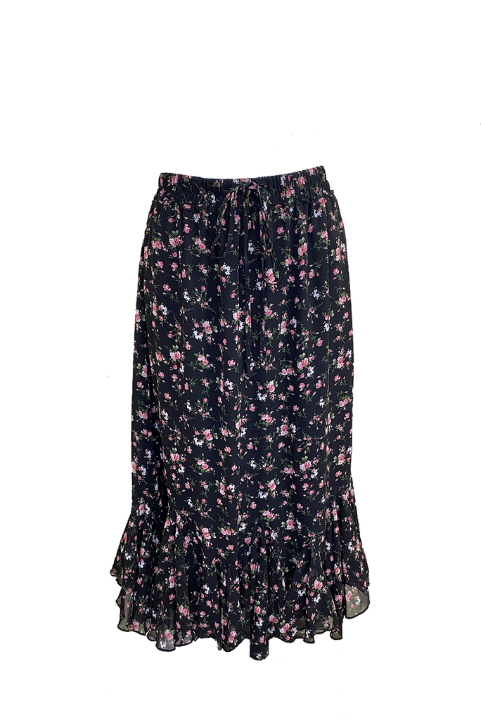 HANNAH SKIRT (Black/Flower)