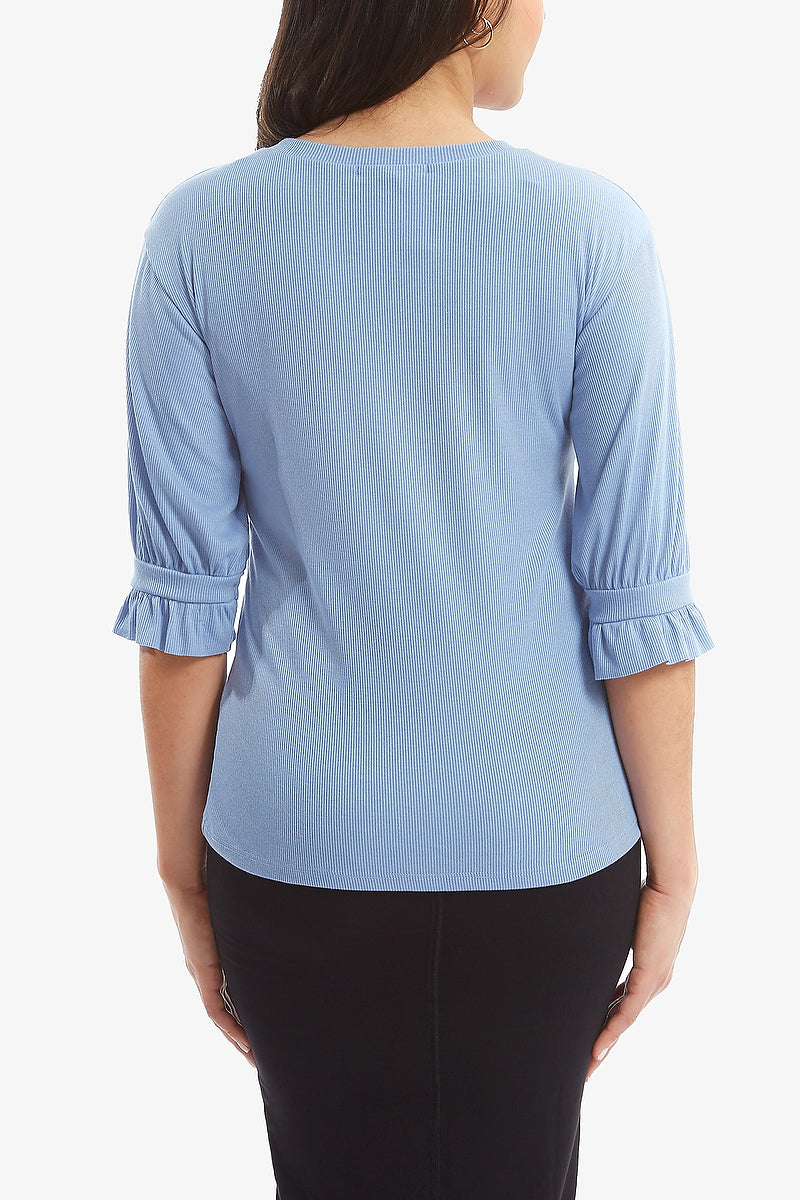 GRETTA RIBBED TEE (Oxford Blue)