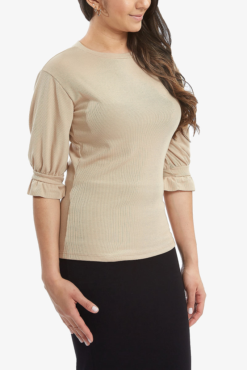GRETTA RIBBED TEE (Light Taupe)