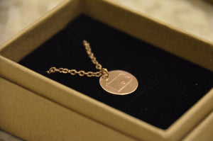 "Love Carlisle 16"" Rose Gold Silver Circle Pendant Necklace"