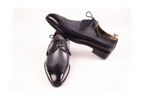 Leather Handmade Shoes Patina Black and Grey