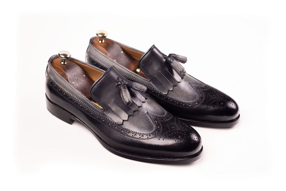 Bosphorus Leather Handmade Shoes - Patina Black and Grey