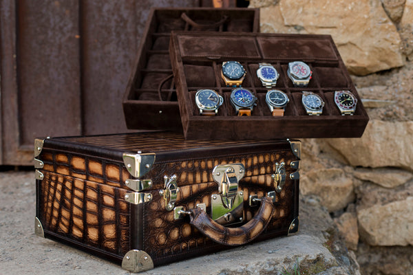 Watch Trunk - Master Patina Alligator Light Brown