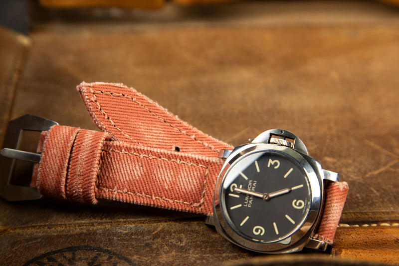 Bosphorus Watch Strap - Rolled Canvas Brick Color