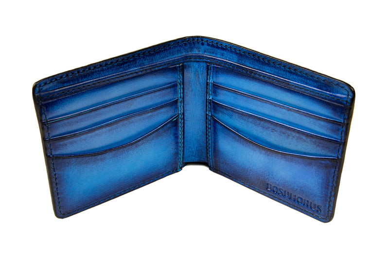 Bosphorus Leather - CP Patina Art Wallet Ocean