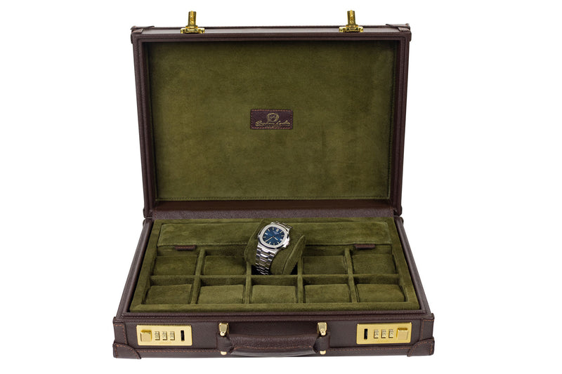 Watch Collector Case Combination Lock - Saffiano Dark Brown for 10 or 15 Watches - Next Day Shipping !