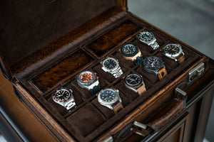 Watch Collector Case - Ostrich Patina Brown