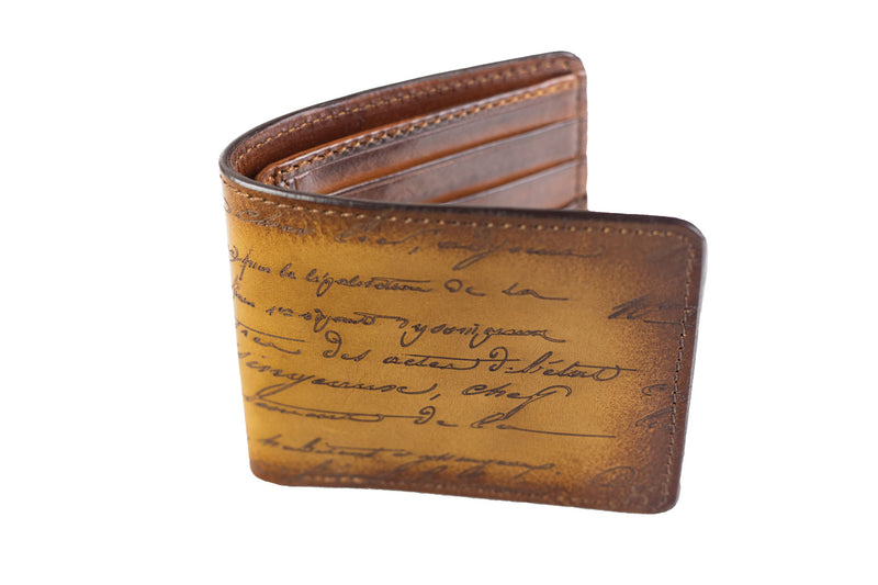 Bosphorus Leather Scripto Patina Honey Brown Wallet Medium - Bosphorus Leather