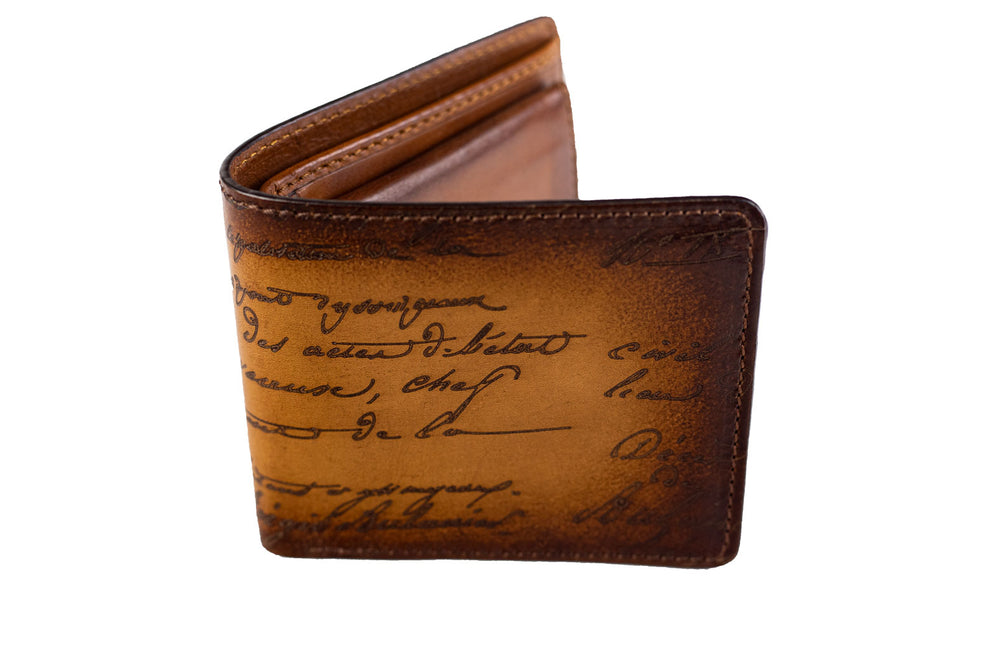 Bosphorus Leather Scripto Patina Light Tan Wallet Medium