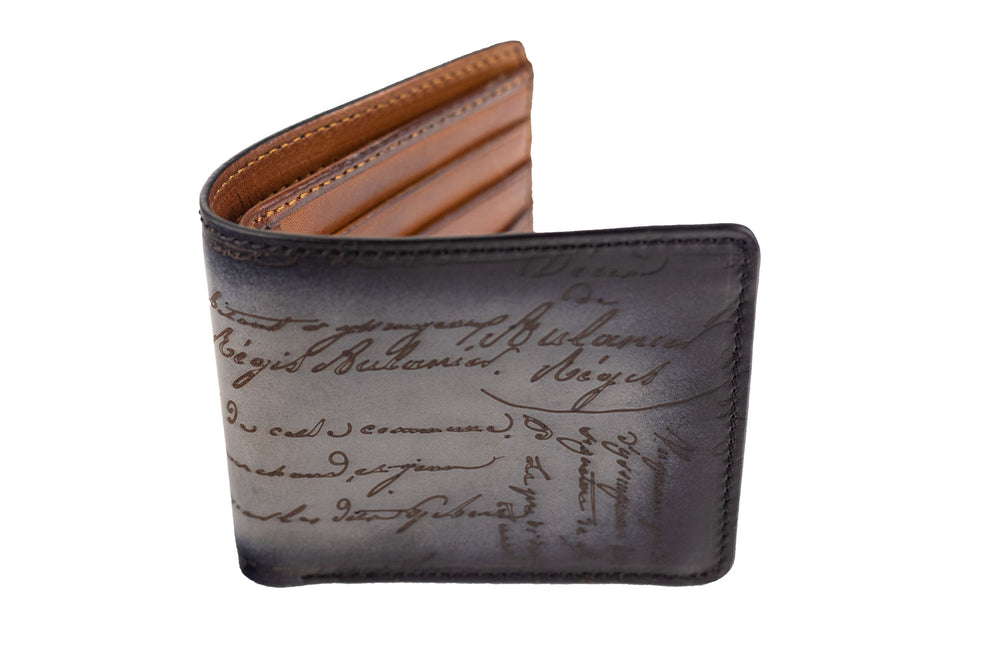 Bosphorus Leather Scripto Patina Grey Wallet Medium
