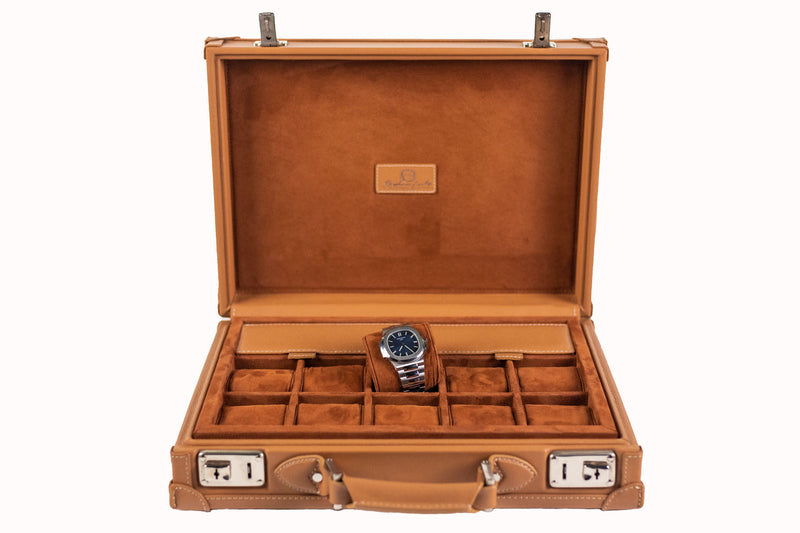 Watch Collector Case Key Lock - Saffiano Camel for 10 or 15 Watches - In Stock !