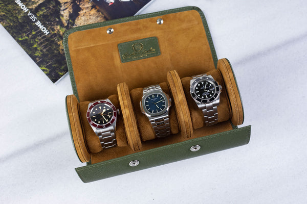Galata Saffiano Olive Green Watch Roll | Next Day Shipping !