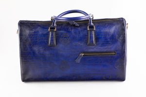 Bosphorus Leather Duffle Bag  - Scripto Blue
