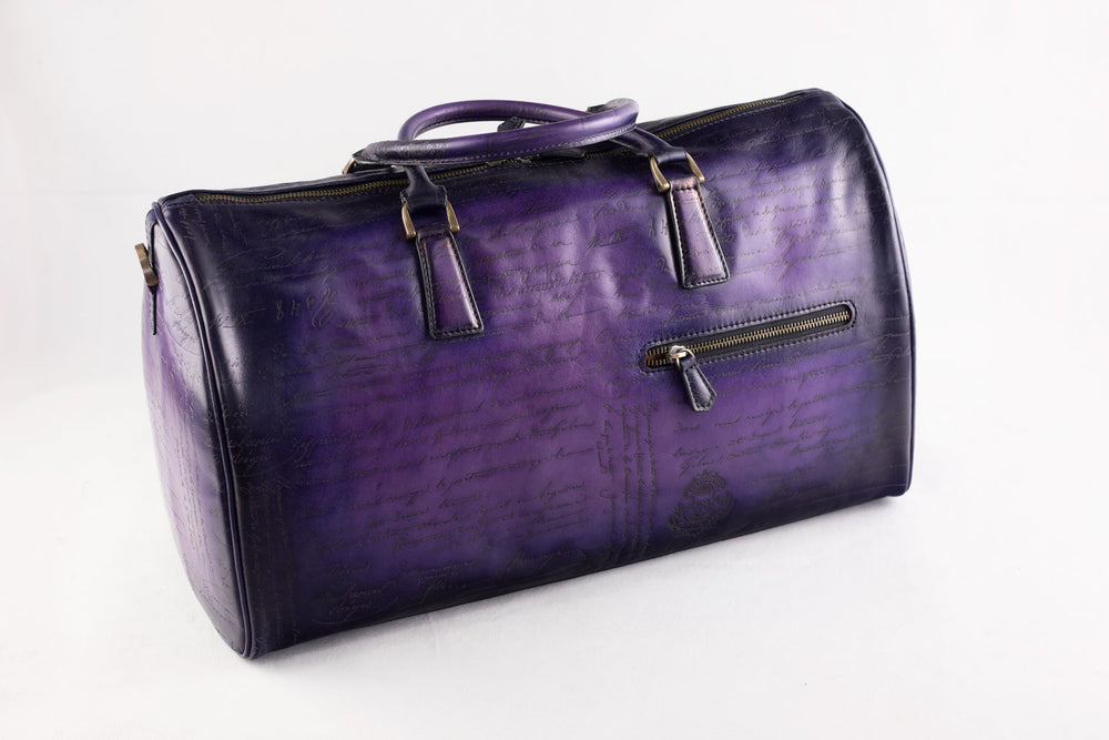 Bosphorus Leather Duffle Bag  - Scripto Purple