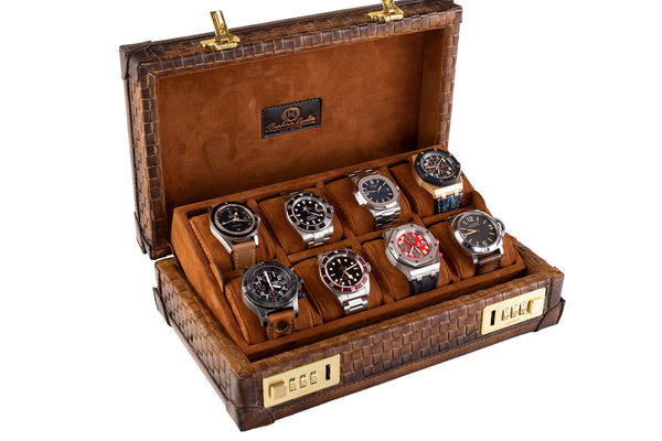 Woven Petra Watch Case for 8 Watches - Patina Light Tan